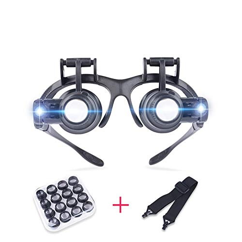 Magnifying Glass Head-Mounted with Light,Magnifying loupe Reading Aid Lens Suitable for The Elderly Low Vision for Macular Degeneration Seniors Reading Loupe 8 Lens