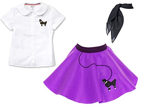 Toddler 3 Piece Poodle Skirt Costume Set Purple -
