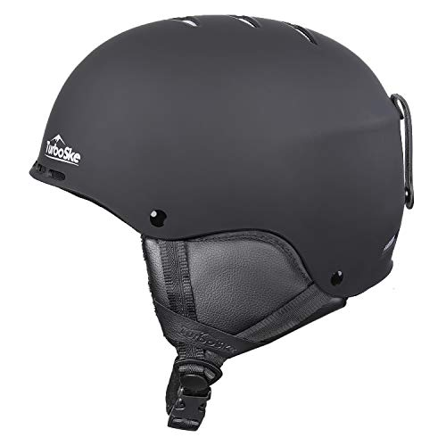 TurboSke Ski Helmet, Snowboard Helmet for Men, Women and Youth (S, Black)