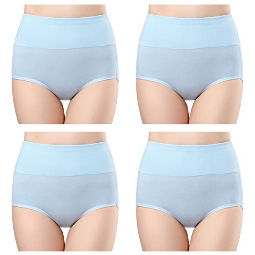 wirarpa Women's 4 Pack Cotton Underwear High Waisted Full Coverage Brief Panties Ladies Comfortable Underpants Light Blue Size 10