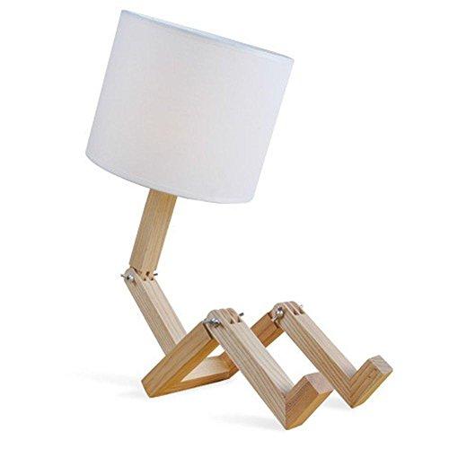 LED Holz Optik Tisch Lampe Arbeits Zimmer Beleuchtung Stoff Lese Leuchte weiß