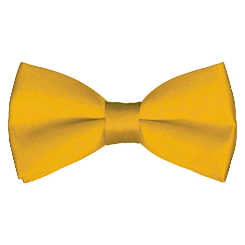 Mens Classic Pre-Tied Satin Formal Tuxedo Bowtie Adjustable Length Large Variety Colors Available, by Platinum Hanger (Gold)