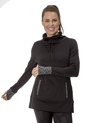 (L3223W) Layer 8 Womens Cold Gear Long Sleeve Spacedye Cowl Neck Cold Gear Pullover in Black Size: L (Cold Gear Tank compare prices)