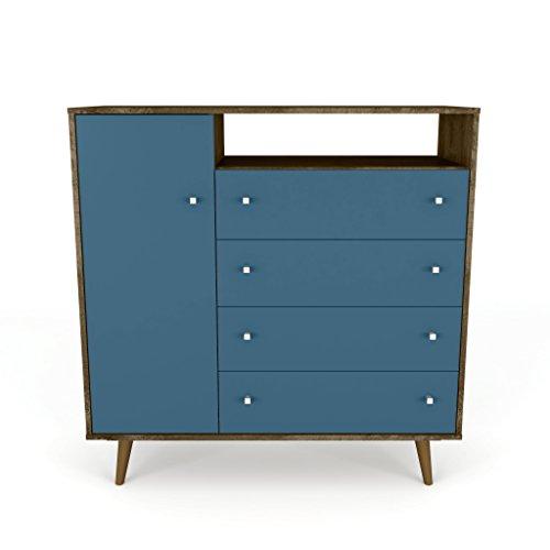Manhattan Comfort 210BMC93 Liberty Modern Bedroom Armoire and TV Stand, Rustic Brown/Aqua Blue
