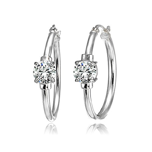 Sterling Silver Cubic Zirconia Solitaire 25mm Hoop Earrings (Cubic Zirconia Star Dangle)