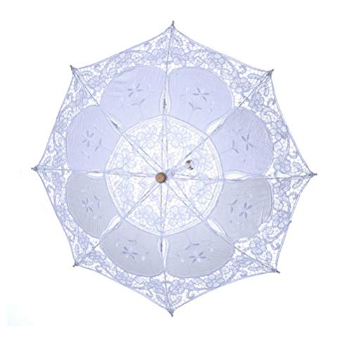 Amosfun White Lace Umbrella Western Wedding Parasol with Wooden Handle for Bride Decoration (White)