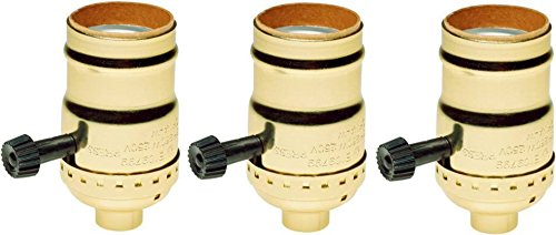 (Creative Hobbies 7070 Two Circuit Turn Knob Lampholder Sockets For Controling Two Lamp Sockets, Standard Base, Gold Metal Shell Incandescent Replacement Lampholders, Pack of 3 Sockets)