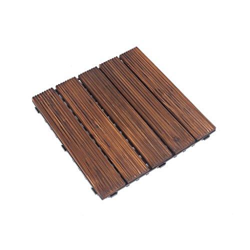 Flooring Wooden floor, outdoor solid wood carbonized anticorrosive flooring, courtyard garden solid wood mosaic floor balcony bathroom square anti-skid wood floor size:30302.4cm