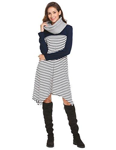Tinkwell Women Casual Long Sleeve Handkerchief Hem Striped Patchwork Loose T-Shirt Dress