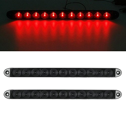 "Partsam 2x 15"" Smoke/Red 11 LED Car Trailer Dealings Stop Turn Tail brake Light ID Bar Waterproof"