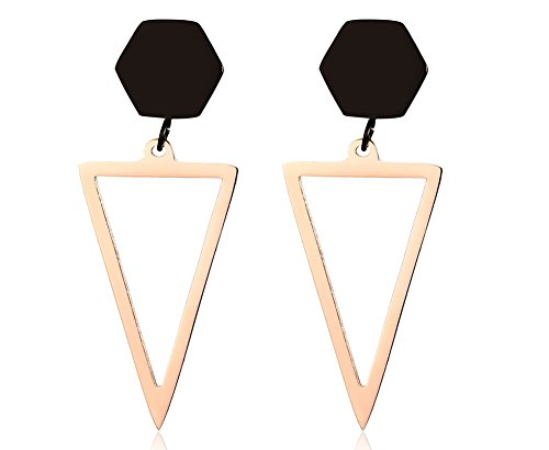 * NEW * Two-tone Stainless Steel Geometric Drop Triangle Earrings for Women