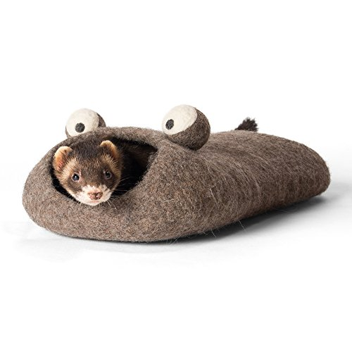 Twin Critters Handcrafted Ferret Cave Bed - Tunnel for Ferrets (Raw Bark)