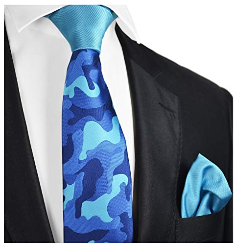 Blue Camo Contrast Knot Tie and Pocket Square by Paul -
