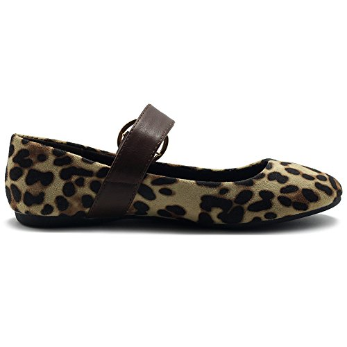 Ollio Scarpe Da Donna Faux Suede Mary Jane Cintura Slip On Comfort Light Baller Flats Leopard