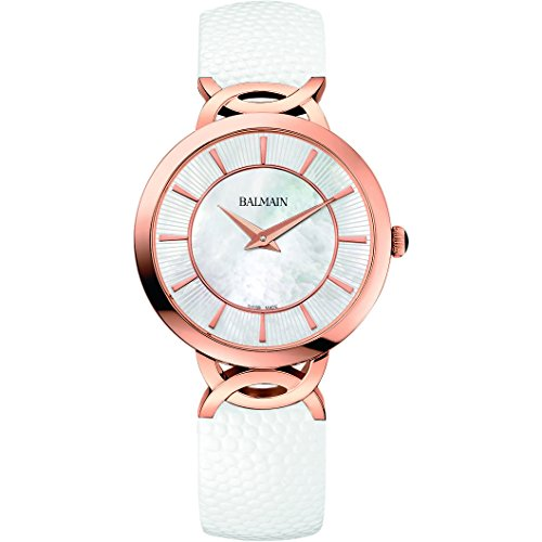 Balmain Women's Taffetas 32mm White Leather Band Rose Gold Plated Case Quartz MOP Dial Watch ()