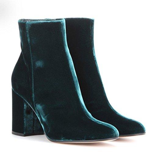 Syyan Femmes Hiver Velours Pur Main Cheville Bottes Noir Bleu Vert , 2 41