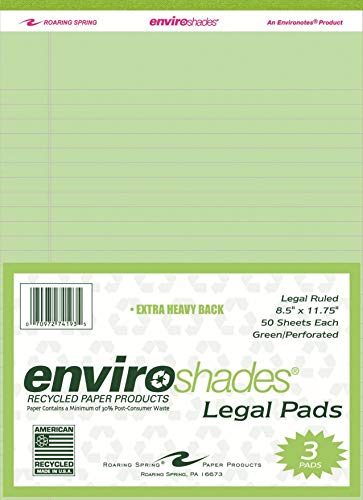 (Roaring Spring Enviroshades Legal Pad, 8-1/2 X 11-3/4 in, 50 Sheets, Paper, Green, Pack of 3)