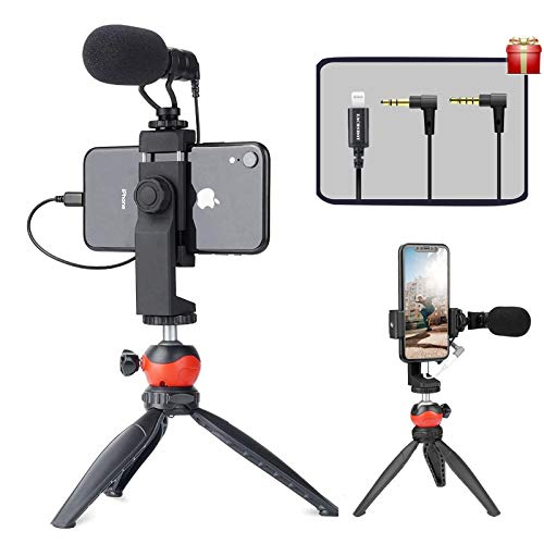 EACHSHOT Smartphone Vlogging Kit with Microphone,Tripod, Dongle Compatible iPhone 12 Mini Pro Max,11 Pro XS XR iOS…