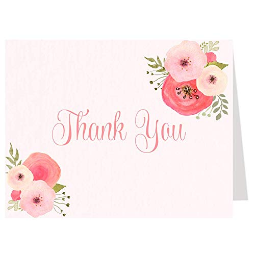 Watercolor Blooms Baby Shower, Thank You Cards, Baby Shower, It's A Girl, Girl Baby Shower, Girls, Pink, Watercolor, Floral, Flowers, Coral, Blush, 50 Pack Folding Thank You Notes with White Envelopes