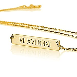 Roman Numeral Bar Necklace Personalized Name Necklace Sterling Silver 18k Gold Plated Custom Made Any Name