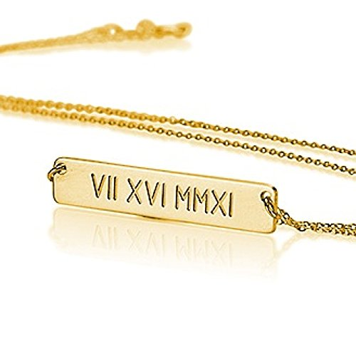 Roman Numeral Bar Necklace Personalized Name Necklace Sterling Silver 18k Gold Plated- Custom Made Any Name (16 (Gold Plated Sterling Silver Necklace)