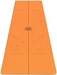 FrenzyBird 6 mm Thick Yoga Mat with Carrying Strap and Alignment Marks, Anti Slip and Easy to Clean, Provides