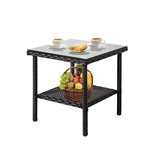 Kinbor Patio Wicker Table Rattan Square Side Table Glass Top Patio Furniture Storage by Kinbor