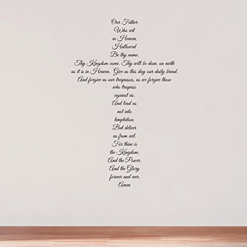The Lord s Prayer Wall Decal, Religious Cross Wall Decor, Matthew 6 9-13, Colors Several Sizes