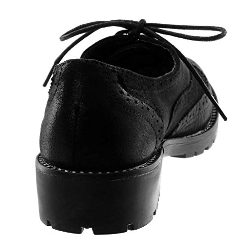 Blocco Tacco Donna 3 Strass Derby Scarpa a 5 Elegante Nero Scarpe Moda Materiale Angkorly CM Perforato bi q7gvA07c