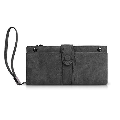 (Phone Wallet,Dsuk Ladies Men Simple Lightweight Vintage Slim Minimalist Travel Zipper Pocket Wristlet Strap Wallets Purse Clutches Light Grey)
