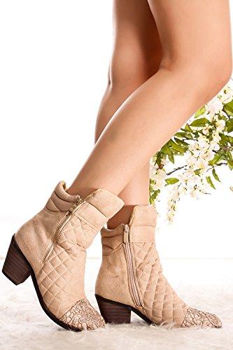 Lolli Couture Forever Link Wildleder Material Seitlicher Reißverschluss Schnalle Pelzbesatz Akzent Chunky High Heel Booties beige-Jones-3