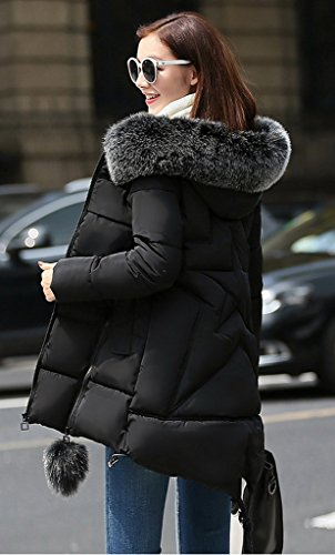 Con Korean Pom Cappotto Cappuccio Cerniera Bigood Tight Lady 3xl Nero Star X1OTFxq
