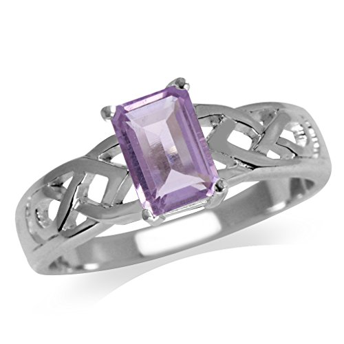 1.05ct. Natural Amethyst 925 Sterling Silver Celtic Knot Solitaire Ring Size 7