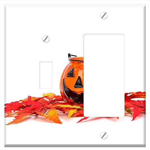 1-Toggle 1-Rocker/GFCI Combination Wall Plate Cover - Autumn Decoration Face Fall Funny Gourd Hallo ()