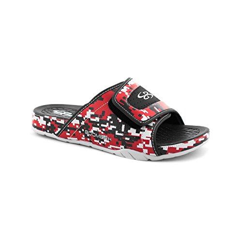 Boombah Mens Tiranno Sandali Per Slide Camo Digitali - 11 Opzioni Di Colore - Più Dimensioni Nero / Rosso