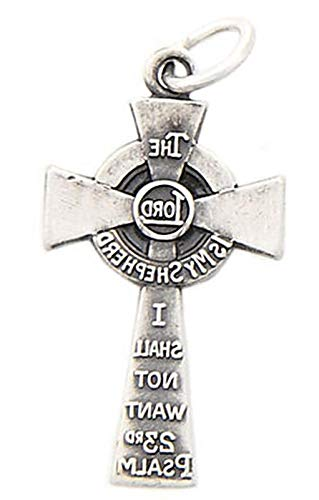 Silver The Lord is My Shepherd I Shall NOT Want 23RD Psalm Cross Charm/Pendant Vintage Crafting Pendant Jewelry Making Supplies - DIY for Necklace Bracelet Accessories by CharmingSS ()
