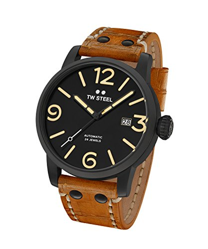 TW Steel Men's 'Maverick' Automatic Stainless and Leather Casual Watch, Brown (Model: MS35) ()