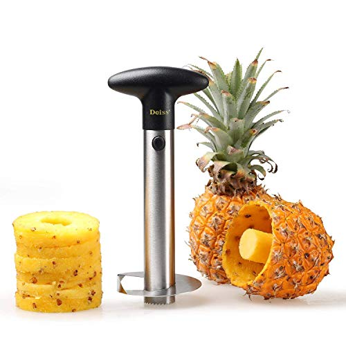 Deiss PRO Pineapple Corer — 2 in 1 Stainless Steel Pineapple Corer & Cutter - Makes perfect pineapple rings without a mess - Dishwasher safe