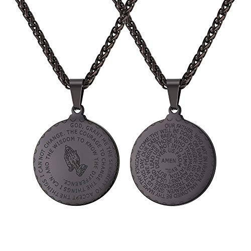 U7 Men Boys Coin Medal Religious Necklace Ion-Plating Black Serenity Bible Verse Prayer Pendant with Free Chain 22 Inch