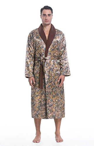 SunRise Men's Polyester Satin Polar Fleece Lining Bathrobe Robe (Medium, Taupe Print)