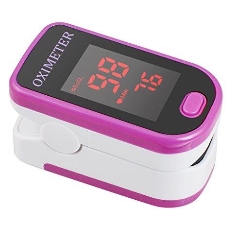 Denshine Pulsoximeter SPO2 mit LED Anzeige und Trageband für Puls, Herzfrequenz und Sauerstoff Messung (Rose Red)