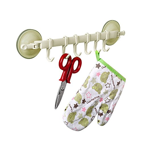 (Saying Supper Power Kitchen Stand Hook with Vaccum Sucker, Bathroom Hangers with 6 Hooks for Spoon,Soup Ladle,Pasta Server, Spatula etc, 13.8