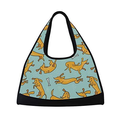 s Gym Bag Dachshund Dog Canvas Weekender Bag Shoulder Bag Totes bags ()