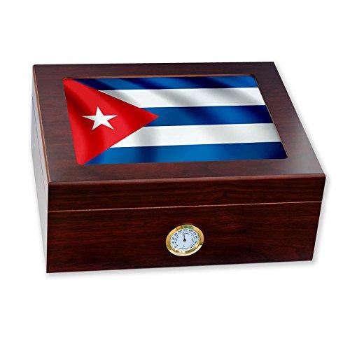 Premium Desktop Humidor - Glass Top - Flag of Cuba (Cuban...