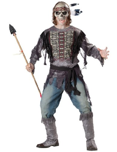[InCharacter Costumes, LLC Men's Spirit Warrior Costume, Black, Large] (Holloween Spirits Costumes)