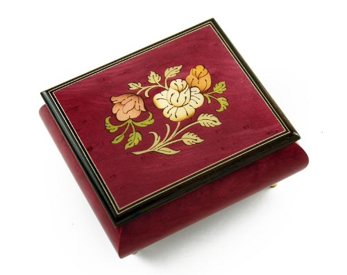 Radiant Red Wine Music Jewelry Box with a Floral Wood Inlay Design - Love Story (Love Story the Movie) by MusicBoxAttic