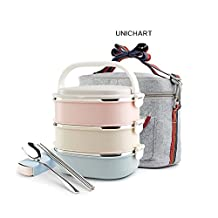 Unichart Lunch Box Containers and Bag Set Kids Students Square Stainless Steel Lunch Box for A Snack Office Food Lock Container / Food Storage Boxes (3-Tier) With Lunch Box Bag