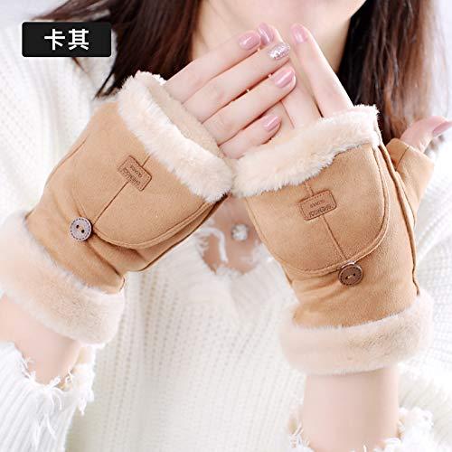 LybGloves Handschuhe weiblicher Winter niedliche Karikaturhasenohren halb Dicker Studentenpaar halber Finger, eine Größe, kakifarbig B07JY8LP99 Handschuhe Clever und praktisch