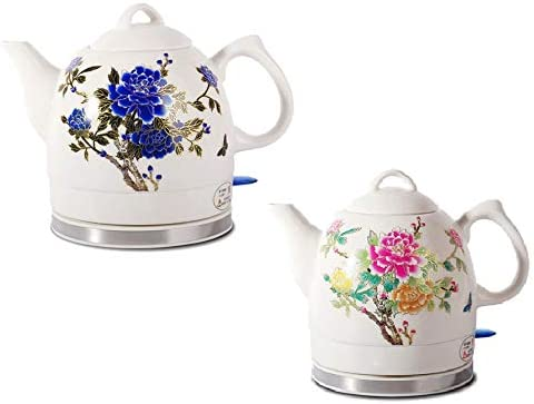 Ceramic Electric Kettle with Peony Flower Pattern
