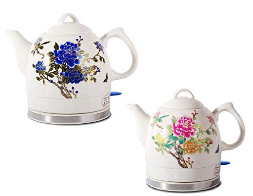 - Fixture Displays Ceramic Electric Kettle with Peony Flower Pattern Two-Tone 15000